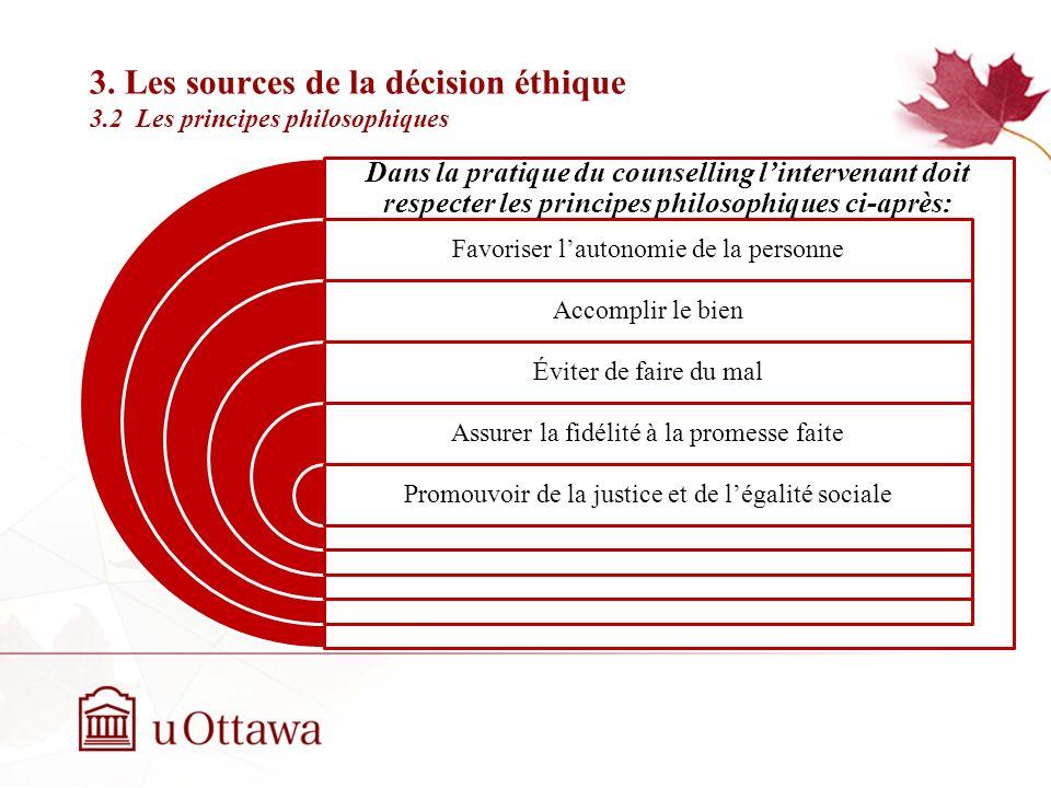 3. Les sources de la décision éthique 3.2 Les principes philosophiques Semaine 2: Introduction à léthique professionnelle La philosophie est la source
