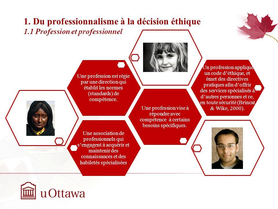 Plan de la présentation 1. Du professionnalisme à la décision éthique 1.1 Profession et professionnel 1.2 Le professionnalisme en counselling 1.3 La c