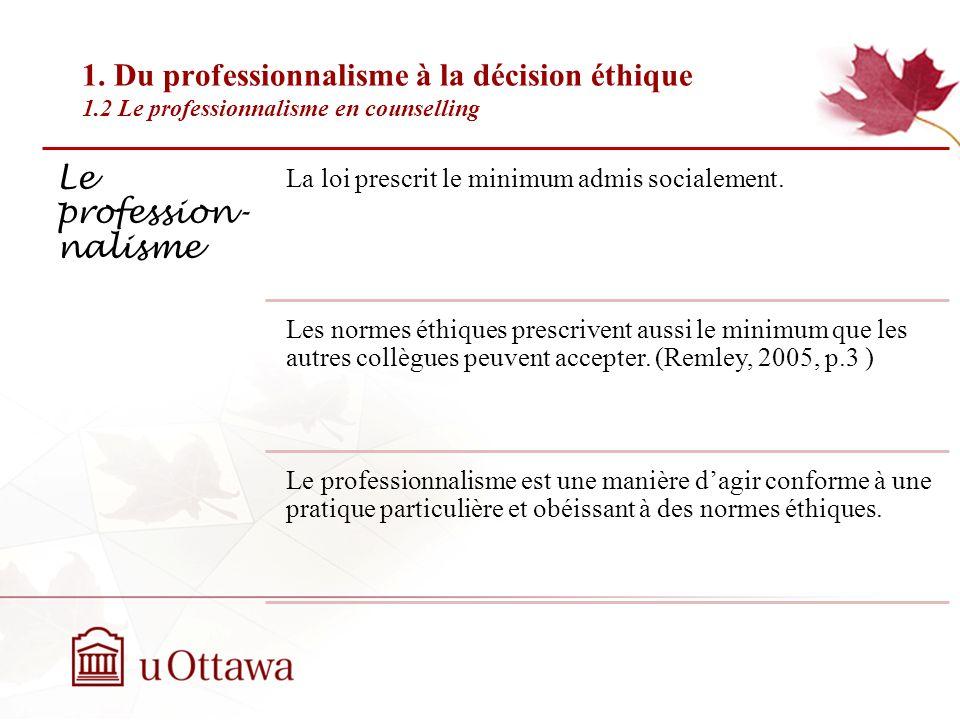 1. Du professionnalisme à la décision éthique 1.1 Profession et professionnel Semaine 2: Introduction à léthique professionnelle Une association de pr