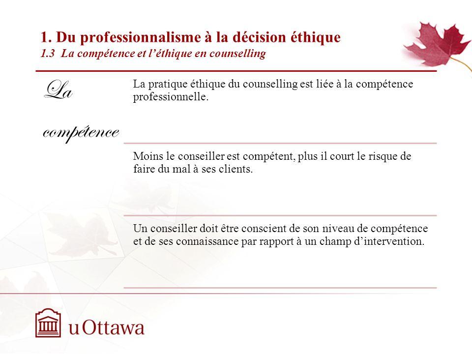 1. Du professionalisme à la décision éthique 1.2 Le professionnalisme en counselling Semaine 2: Introduction à léthique professionnelle Selon lAmerica