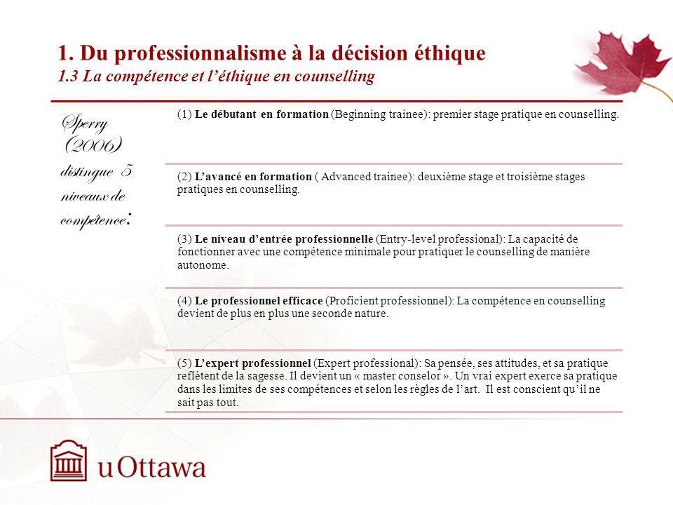 1. Du professionnalisme à la décision éthique 1.3 La compétence et léthique en counselling Semaine 2: Introduction à léthique professionnelle La compé