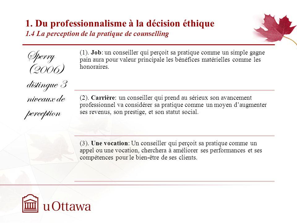 1. Du professionnalisme à la décision éthique 1.3 La compétence et léthique en counselling Semaine 2: Introduction à léthique professionnelle Sperry (