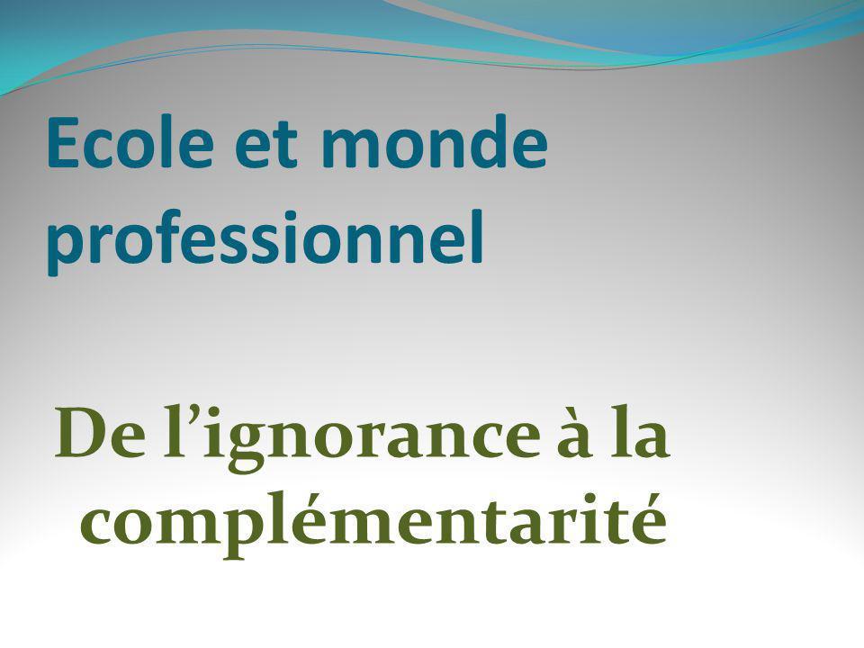 Ecole et monde professionnel De lignorance à la complémentarité