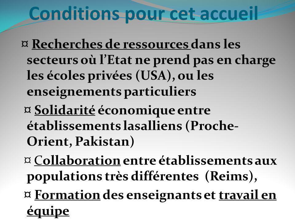 Conditions pour cet accueil ¤ Recherches de ressources dans les secteurs où lEtat ne prend pas en charge les écoles privées (USA), ou les enseignement