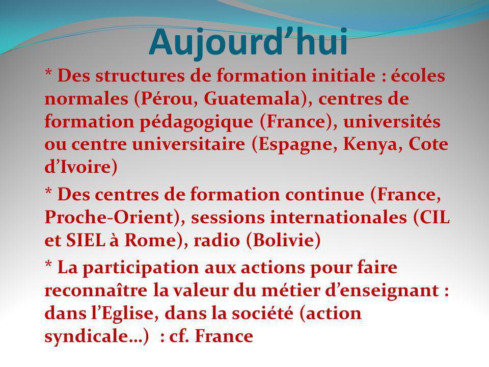 Aujourdhui * Des structures de formation initiale : écoles normales (Pérou, Guatemala), centres de formation pédagogique (France), universités ou cent