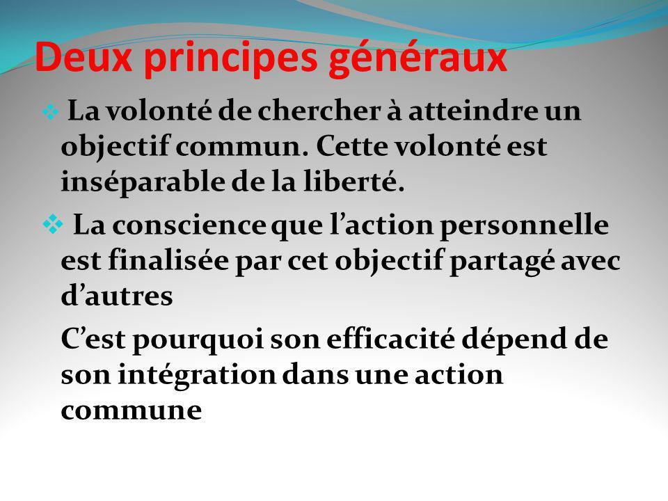 Deux principes généraux La volonté de chercher à atteindre un objectif commun. Cette volonté est inséparable de la liberté. La conscience que laction
