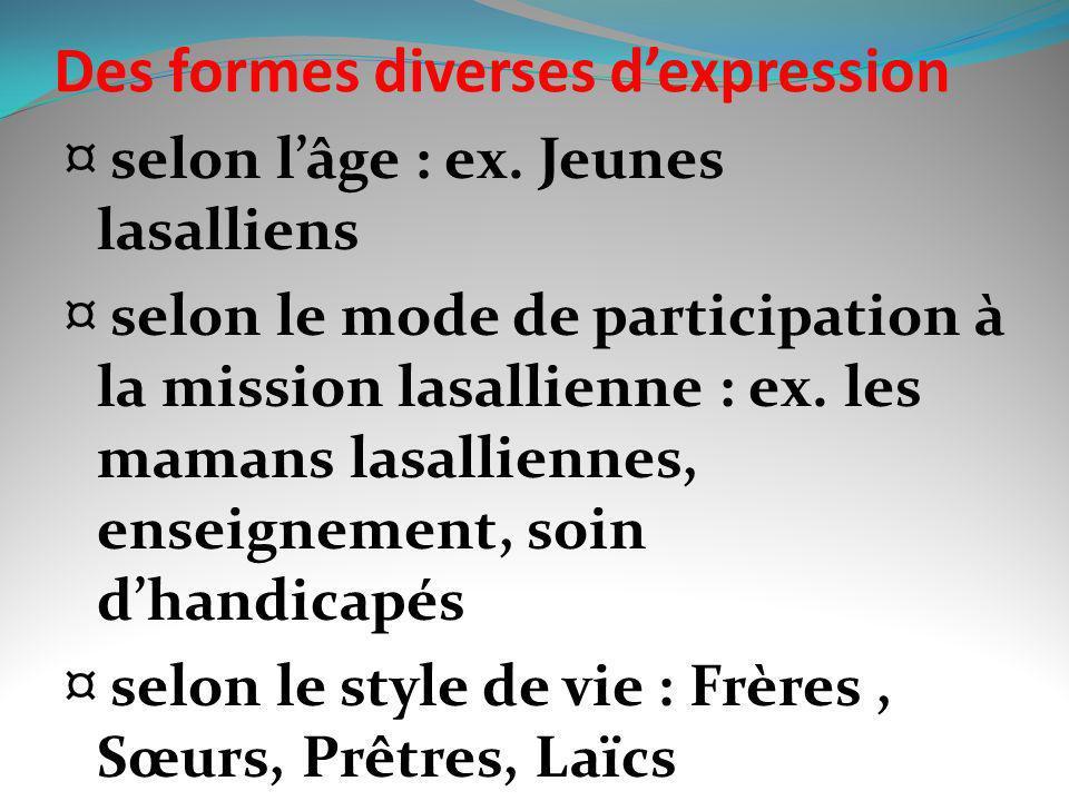 Des formes diverses dexpression ¤ selon lâge : ex. Jeunes lasalliens ¤ selon le mode de participation à la mission lasallienne : ex. les mamans lasall