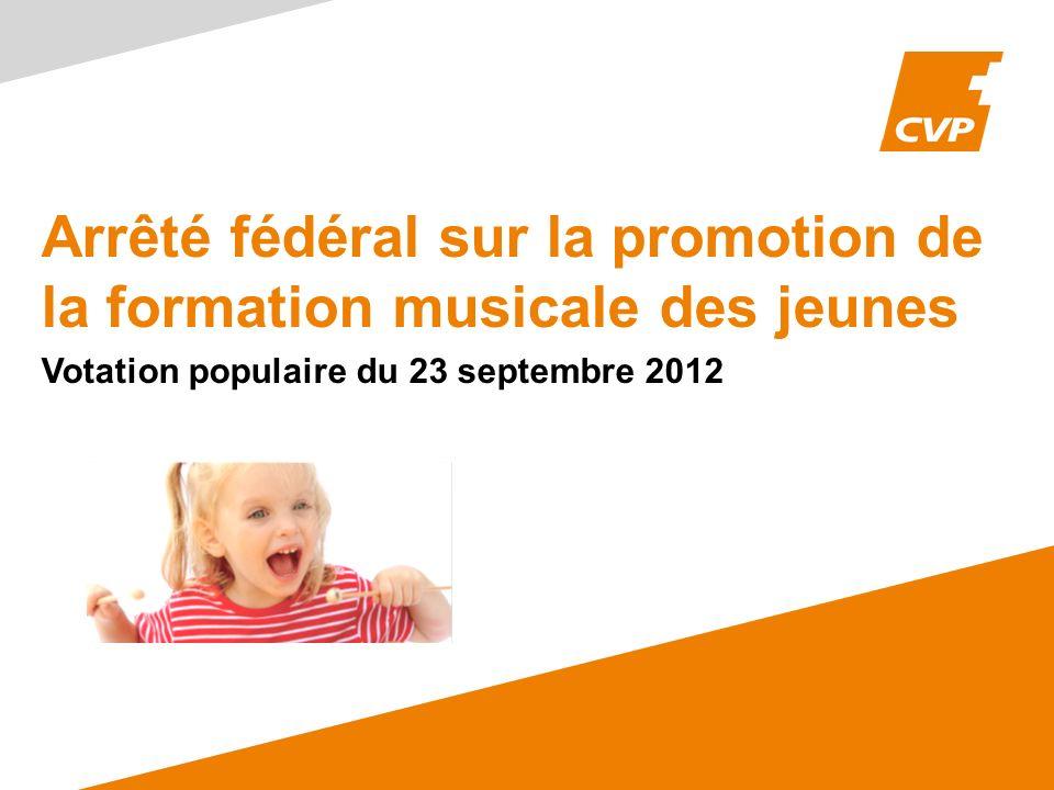 Arrêté fédéral sur la promotion de la formation musicale des jeunes Votation populaire du 23 septembre 2012