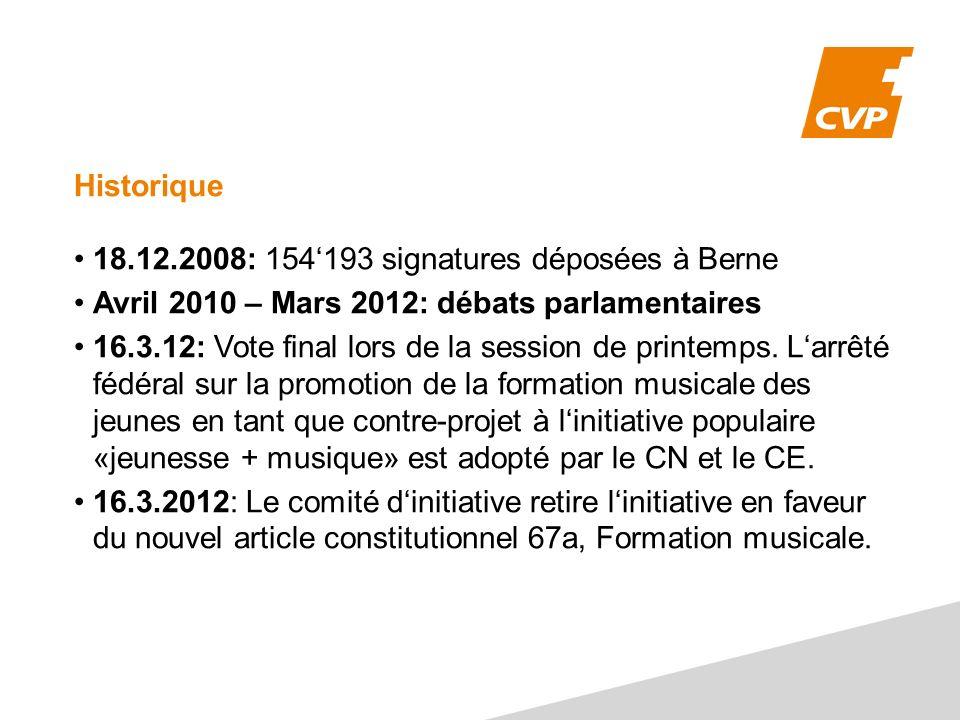 Historique 18.12.2008: 154193 signatures déposées à Berne Avril 2010 – Mars 2012: débats parlamentaires 16.3.12: Vote final lors de la session de printemps.