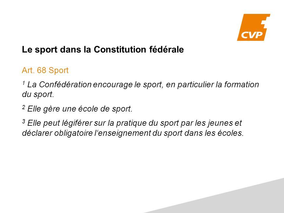 Le sport dans la Constitution fédérale Art.