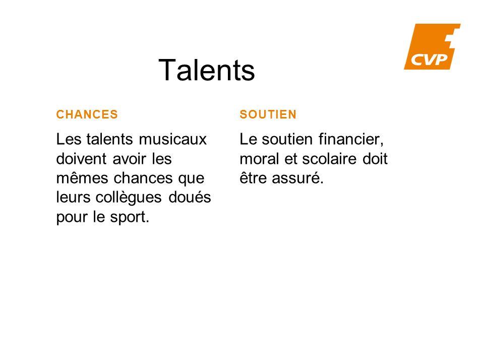 Talents CHANCES Les talents musicaux doivent avoir les mêmes chances que leurs collègues doués pour le sport.