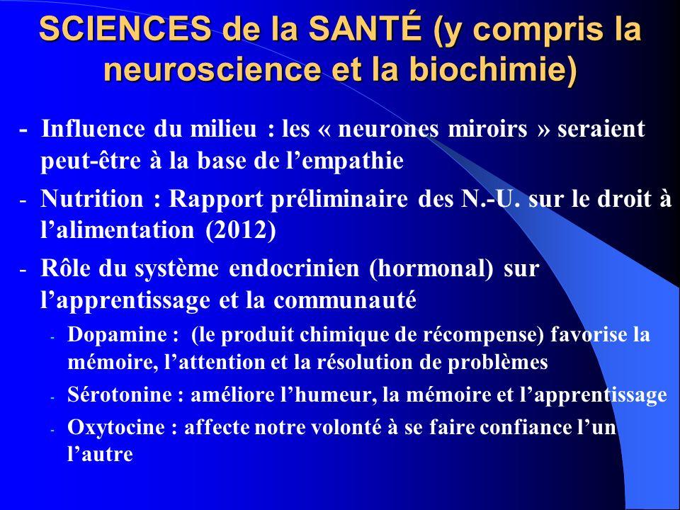 SCIENCES de la SANTÉ (y compris la neuroscience et la biochimie) - Influence du milieu : les « neurones miroirs » seraient peut-être à la base de lempathie - Nutrition : Rapport préliminaire des N.-U.