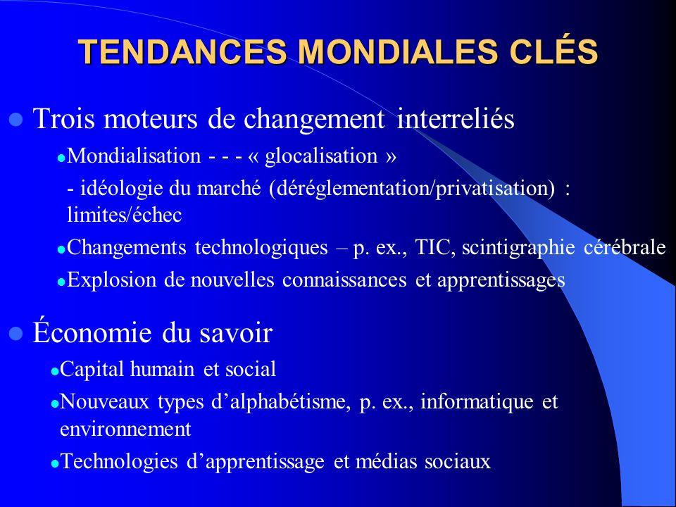 TENDANCES MONDIALES CLÉS Trois moteurs de changement interreliés Mondialisation - - - « glocalisation » - idéologie du marché (déréglementation/privatisation) : limites/échec Changements technologiques – p.