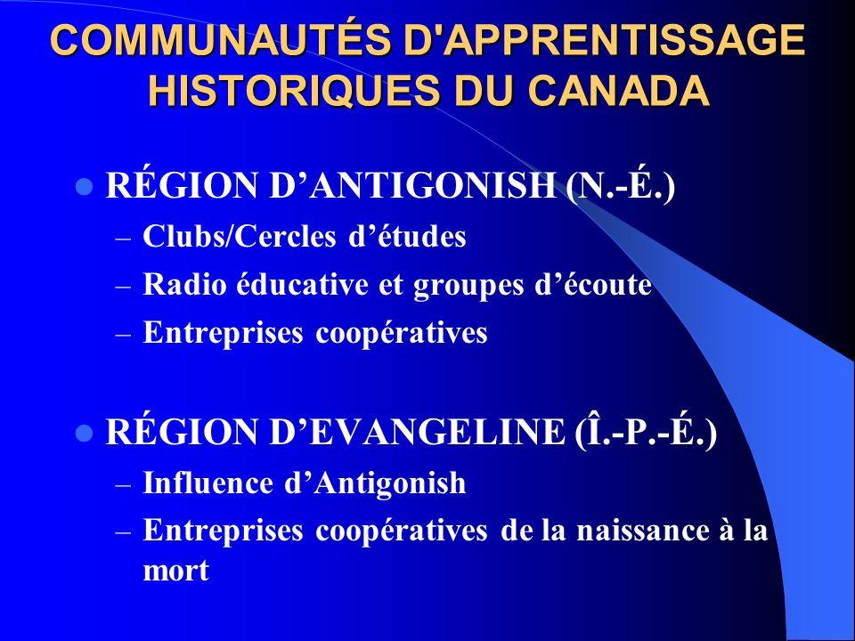 COMMUNAUTÉS D'APPRENTISSAGE HISTORIQUES DU CANADA RÉGION DANTIGONISH (N.-É.) – Clubs/Cercles détudes – Radio éducative et groupes découte – Entreprise