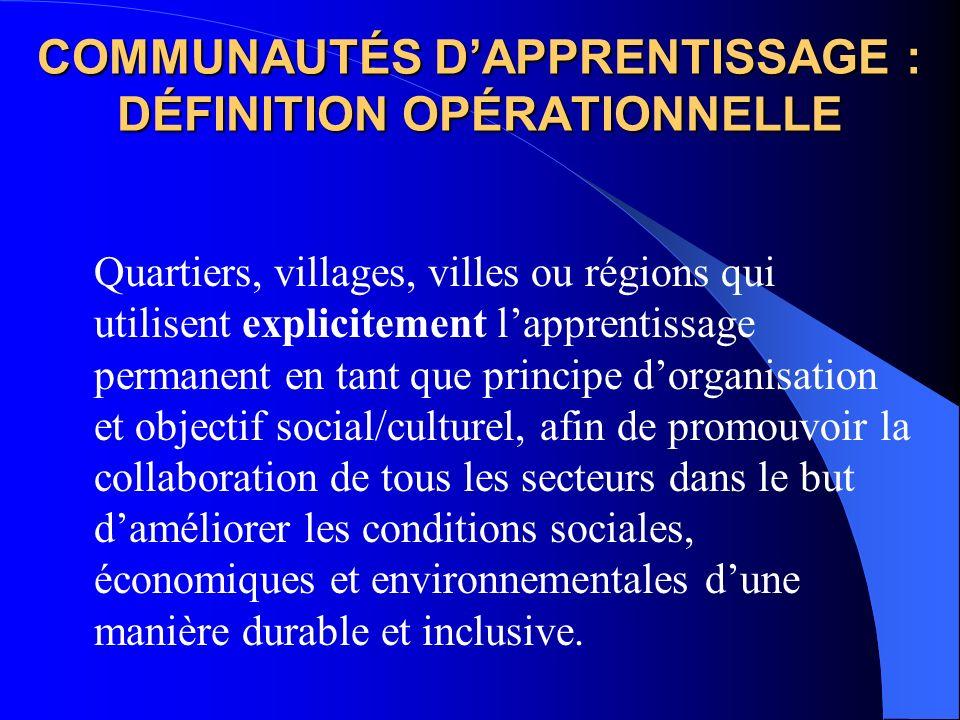 COMMUNAUTÉS DAPPRENTISSAGE : DÉFINITION OPÉRATIONNELLE Quartiers, villages, villes ou régions qui utilisent explicitement lapprentissage permanent en