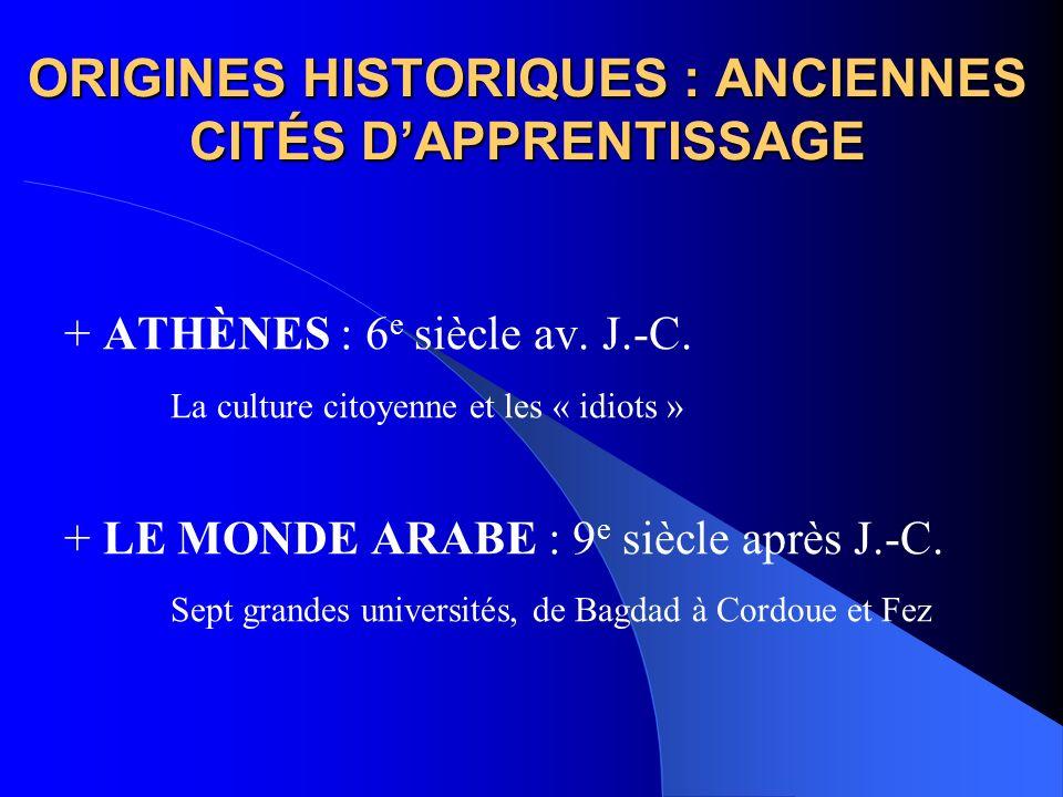 ORIGINES HISTORIQUES : ANCIENNES CITÉS DAPPRENTISSAGE + ATHÈNES : 6 e siècle av. J.-C. La culture citoyenne et les « idiots » + LE MONDE ARABE : 9 e s