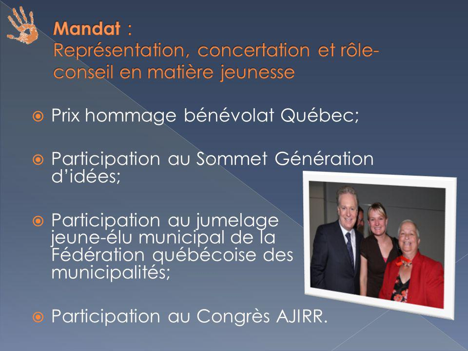 Prix hommage bénévolat Québec; Participation au Sommet Génération didées; Participation au jumelage jeune-élu municipal de la Fédération québécoise des municipalités; Participation au Congrès AJIRR.