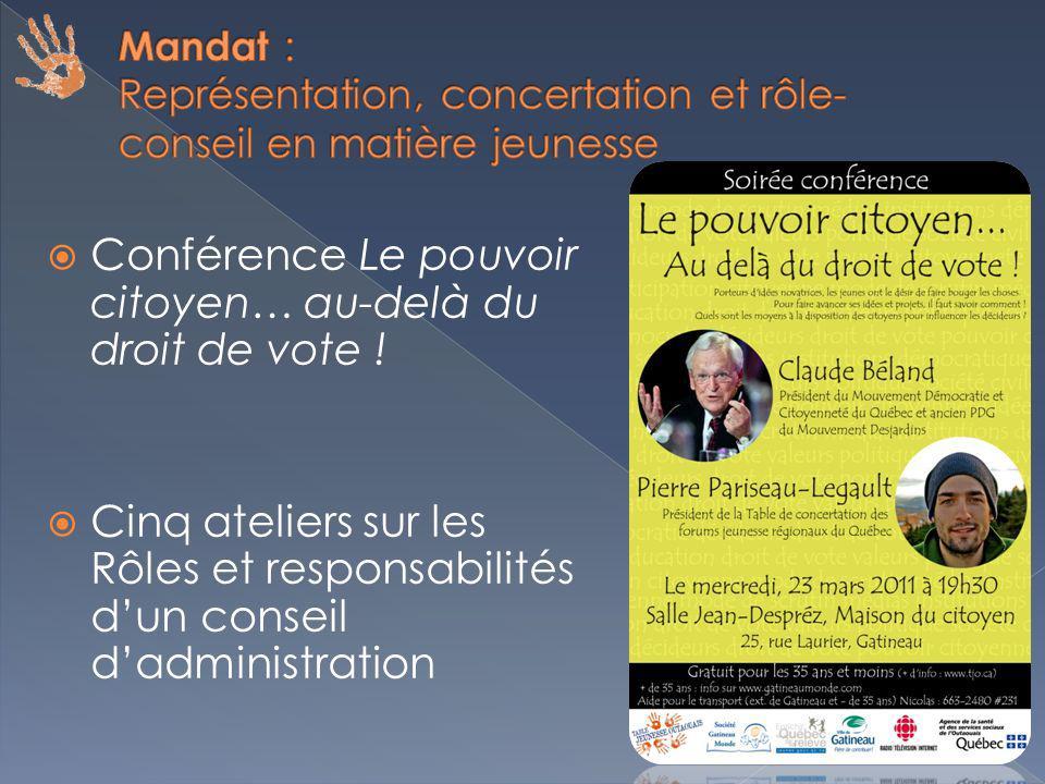 Conférence Le pouvoir citoyen… au-delà du droit de vote .