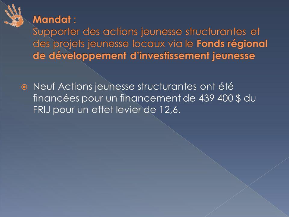 Neuf Actions jeunesse structurantes ont été financées pour un financement de 439 400 $ du FRIJ pour un effet levier de 12,6.