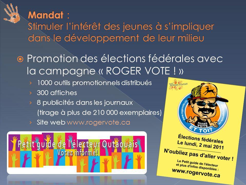 Promotion des élections fédérales avec la campagne « ROGER VOTE .