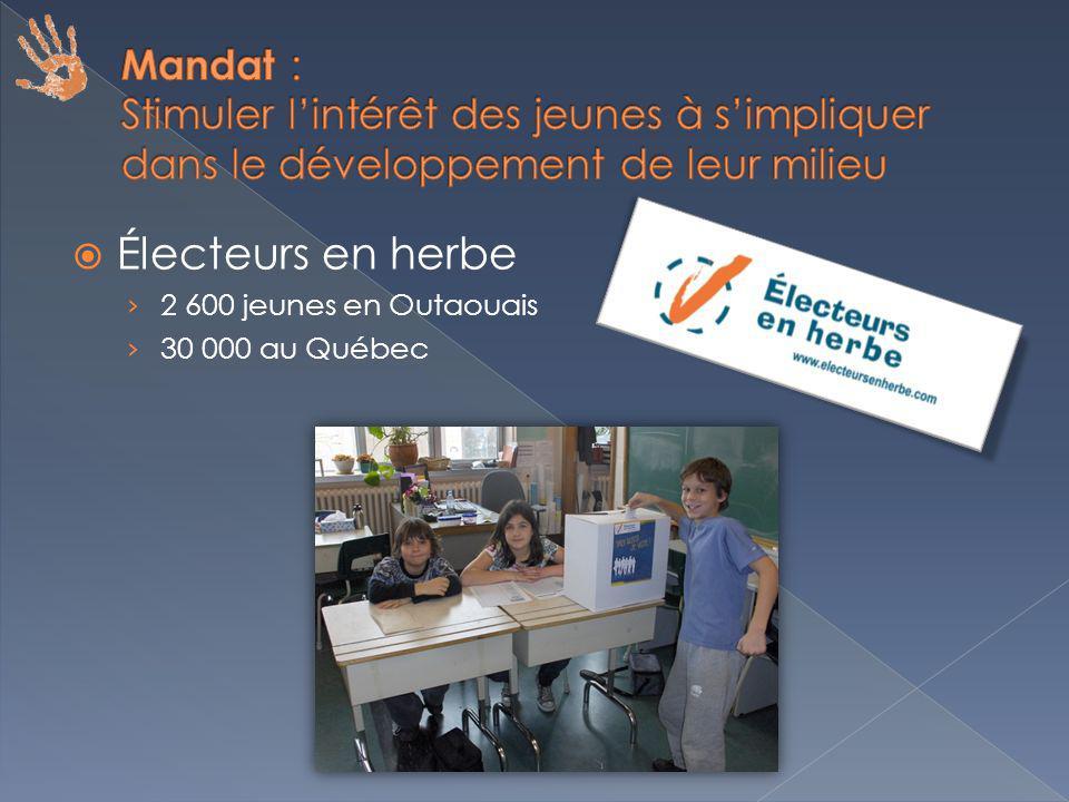 Électeurs en herbe 2 600 jeunes en Outaouais 30 000 au Québec