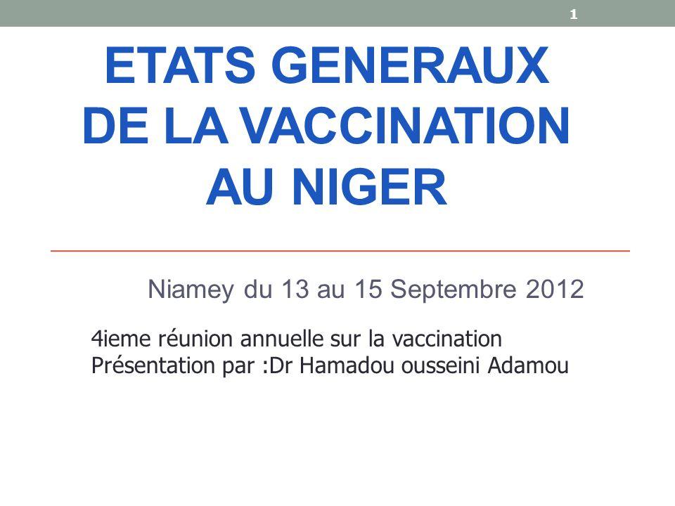 ETATS GENERAUX DE LA VACCINATION AU NIGER Niamey du 13 au 15 Septembre 2012 1 4ieme réunion annuelle sur la vaccination Présentation par :Dr Hamadou ousseini Adamou