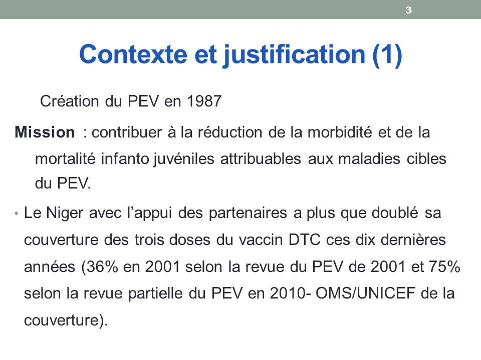 Contexte et justification (1) Création du PEV en 1987 Mission : contribuer à la réduction de la morbidité et de la mortalité infanto juvéniles attribuables aux maladies cibles du PEV.