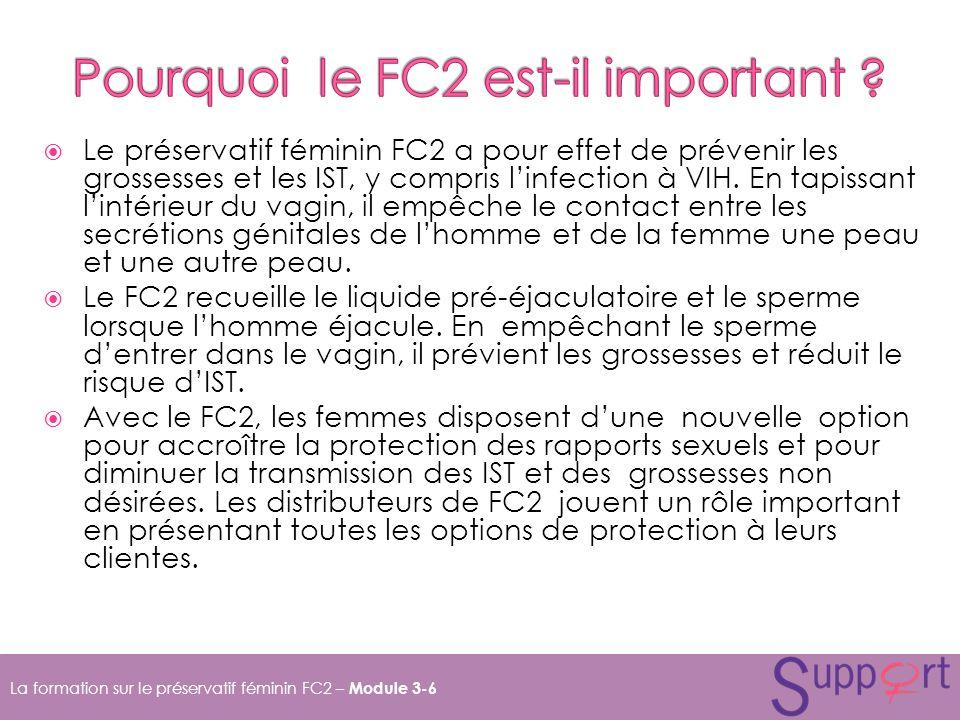 Le préservatif féminin FC2 a pour effet de prévenir les grossesses et les IST, y compris linfection à VIH.