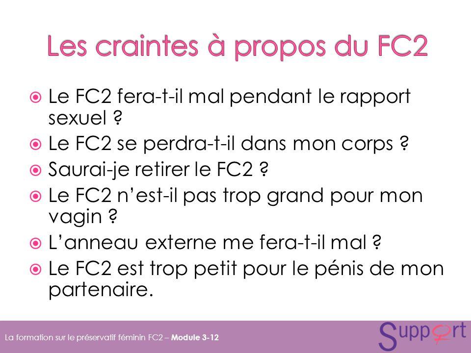 Le FC2 fera-t-il mal pendant le rapport sexuel .Le FC2 se perdra-t-il dans mon corps .