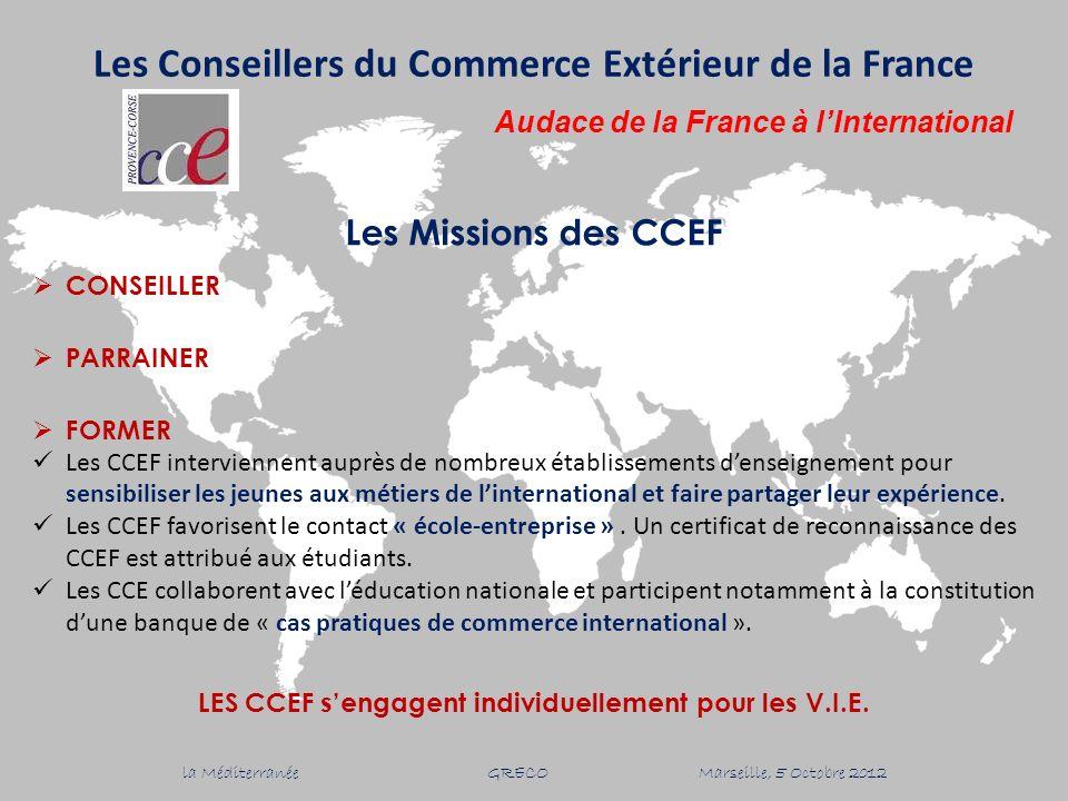 Les Missions des CCEF CONSEILLER PARRAINER FORMER Les CCEF interviennent auprès de nombreux établissements denseignement pour sensibiliser les jeunes aux métiers de linternational et faire partager leur expérience.
