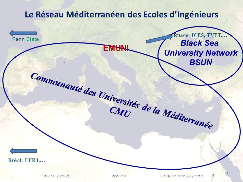 Le Réseau Méditerranéen des Ecoles dIngénieurs - la Méditerranée GRECO Marseille, 5 Octobre 2012 5 5 Black Sea University Network BSUN Brésil: UFRJ,… Russie: ICES, TVET,… EMUNI Penn State