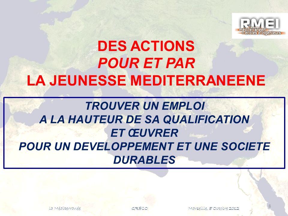 8 DES ACTIONS POUR ET PAR LA JEUNESSE MEDITERRANEENE TROUVER UN EMPLOI A LA HAUTEUR DE SA QUALIFICATION ET ŒUVRER POUR UN DEVELOPPEMENT ET UNE SOCIETE DURABLES la Méditerranée GRECO Marseille, 5 Octobre 2012