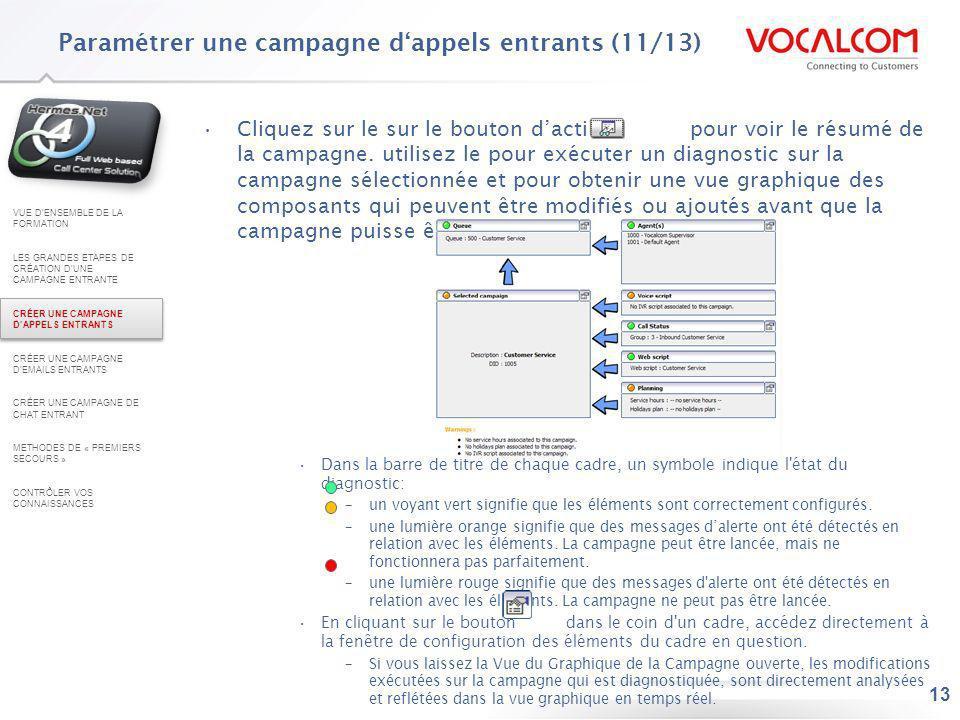 13 Cliquez sur le sur le bouton daction pour voir le résumé de la campagne. utilisez le pour exécuter un diagnostic sur la campagne sélectionnée et po