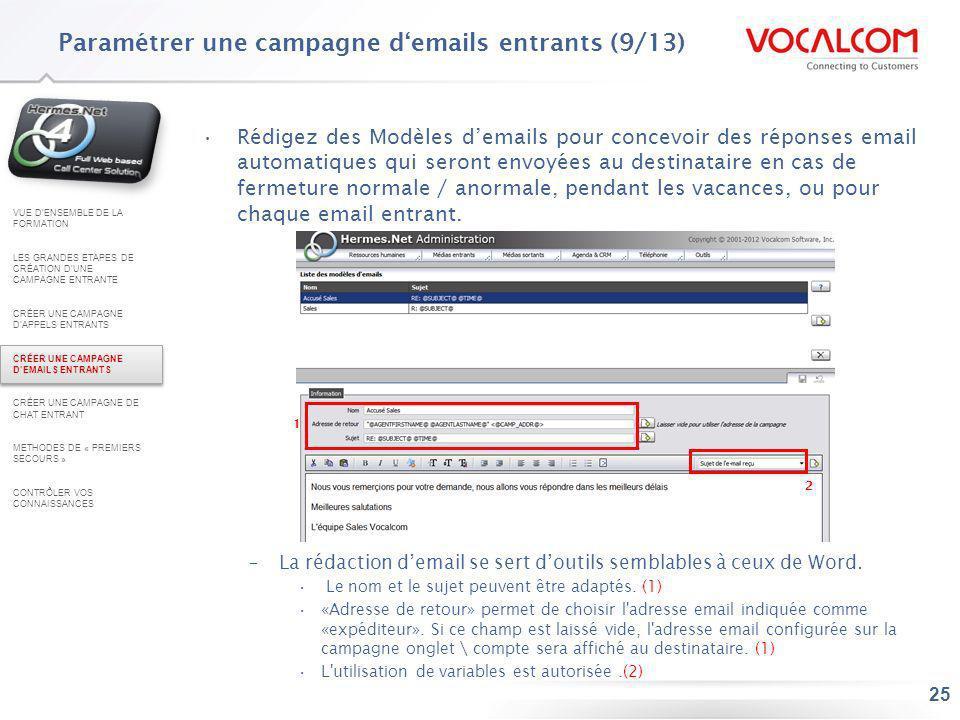 25 Rédigez des Modèles demails pour concevoir des réponses email automatiques qui seront envoyées au destinataire en cas de fermeture normale / anorma