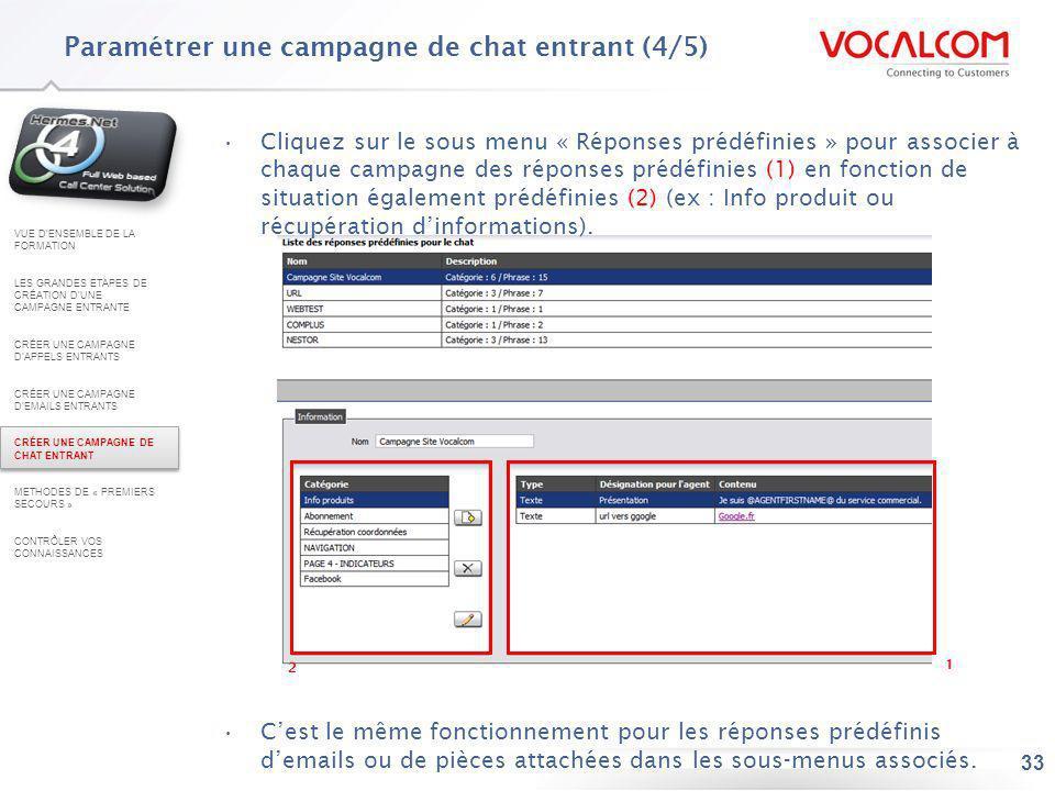 33 Cliquez sur le sous menu « Réponses prédéfinies » pour associer à chaque campagne des réponses prédéfinies (1) en fonction de situation également p