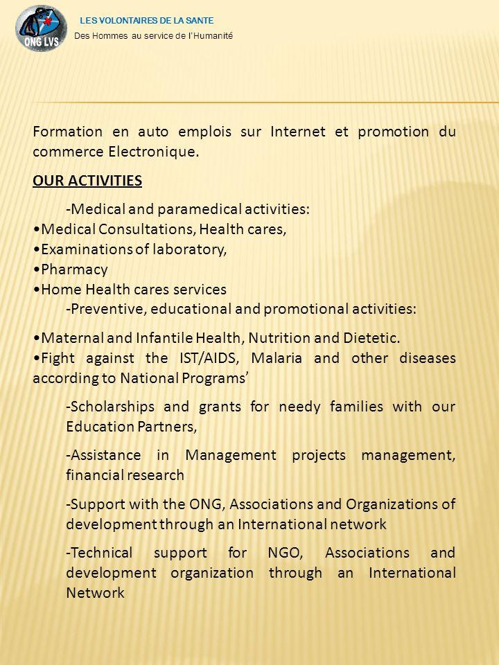 Formation en auto emplois sur Internet et promotion du commerce Electronique.