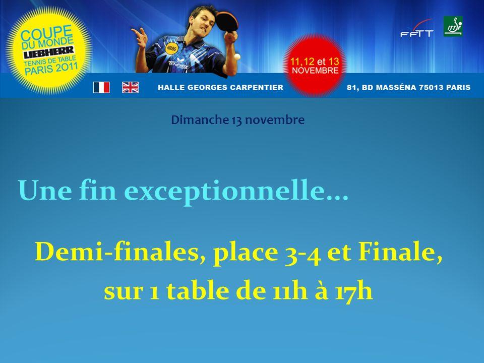 Une fin exceptionnelle... Demi-finales, place 3-4 et Finale, sur 1 table de 11h à 17h Dimanche 13 novembre