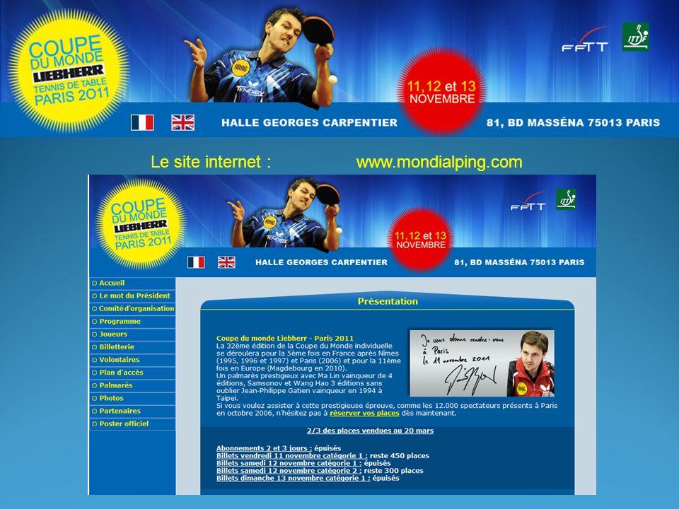 Le site internet : www.mondialping.com