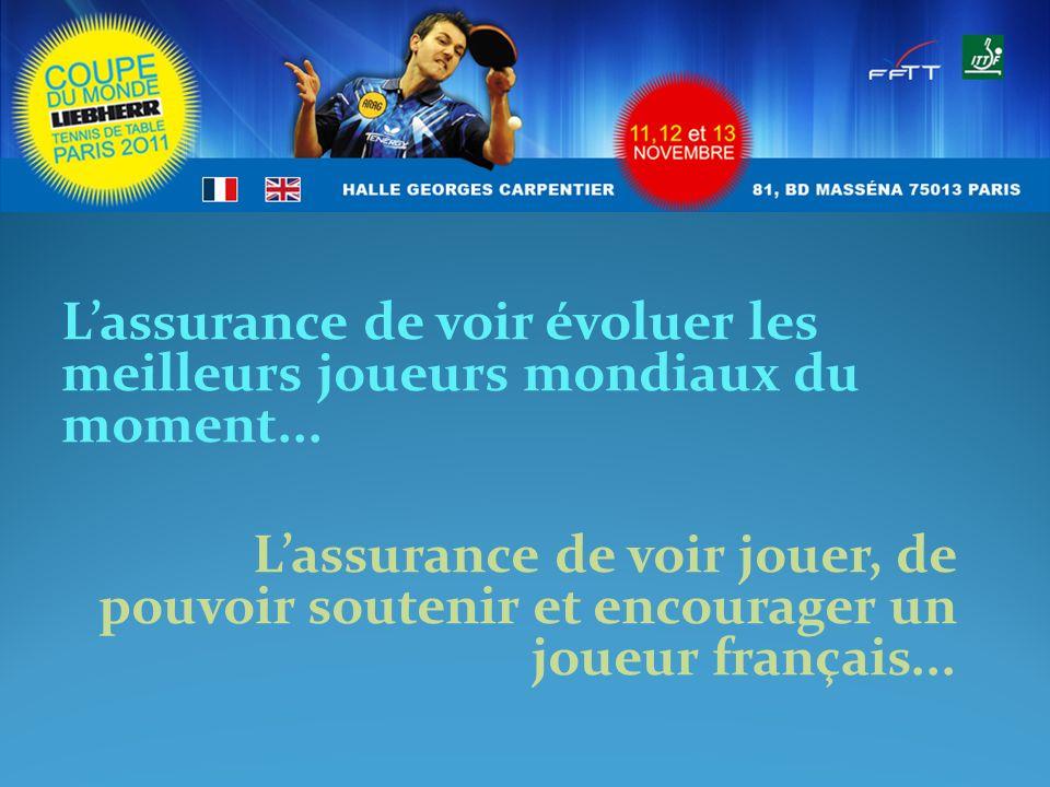 Lassurance de voir évoluer les meilleurs joueurs mondiaux du moment... Lassurance de voir jouer, de pouvoir soutenir et encourager un joueur français.