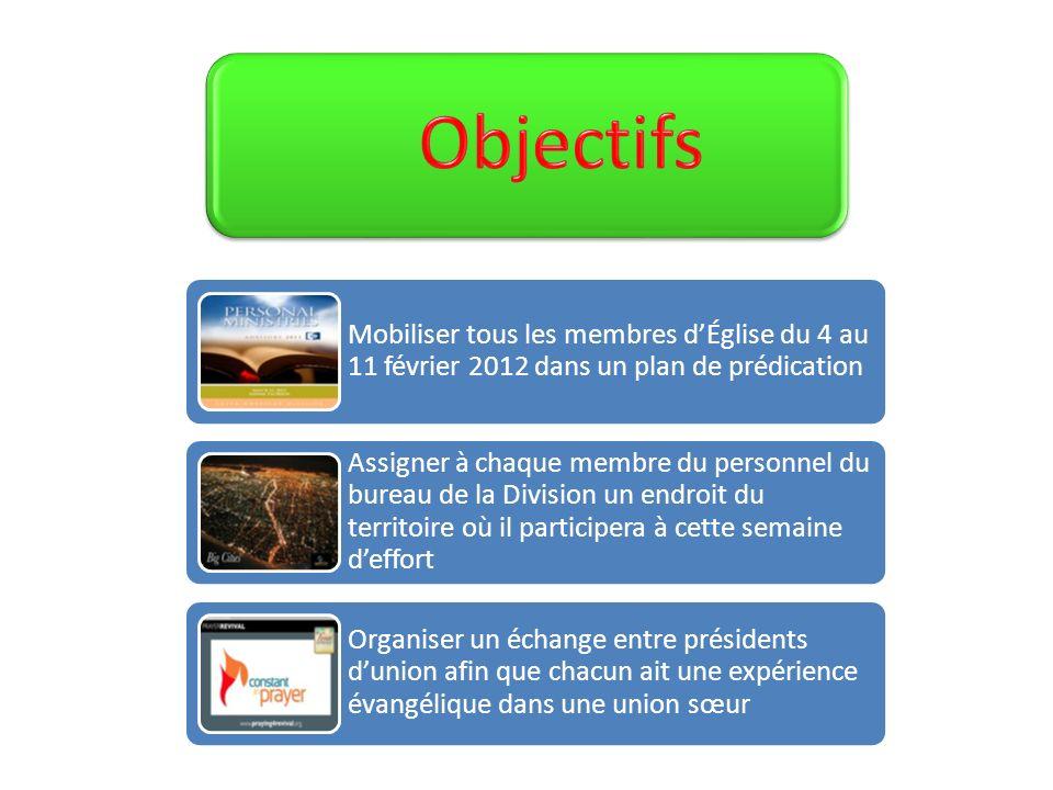 Mobiliser tous les membres dÉglise du 4 au 11 février 2012 dans un plan de prédication Assigner à chaque membre du personnel du bureau de la Division