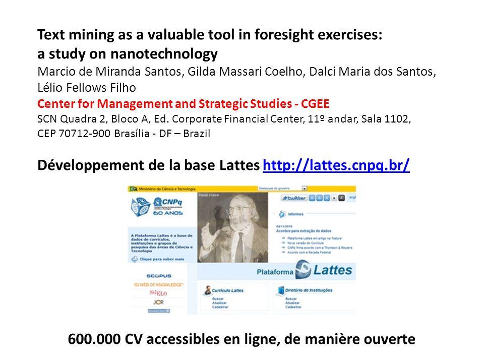 Text mining as a valuable tool in foresight exercises: a study on nanotechnology Marcio de Miranda Santos, Gilda Massari Coelho, Dalci Maria dos Santo