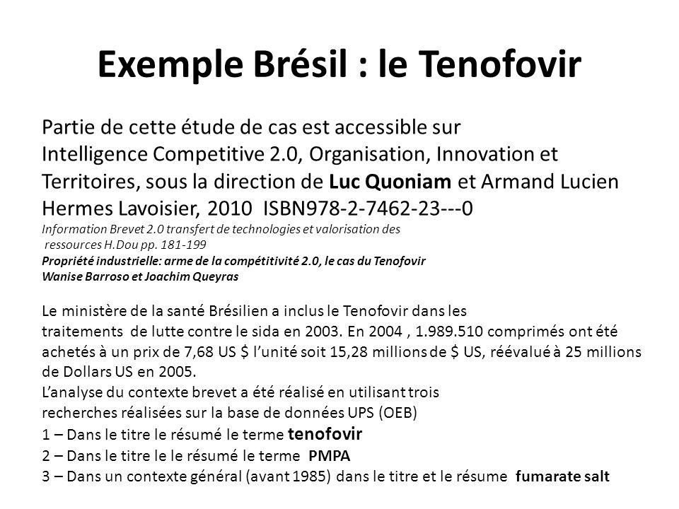 Exemple Brésil : le Tenofovir Partie de cette étude de cas est accessible sur Intelligence Competitive 2.0, Organisation, Innovation et Territoires, s