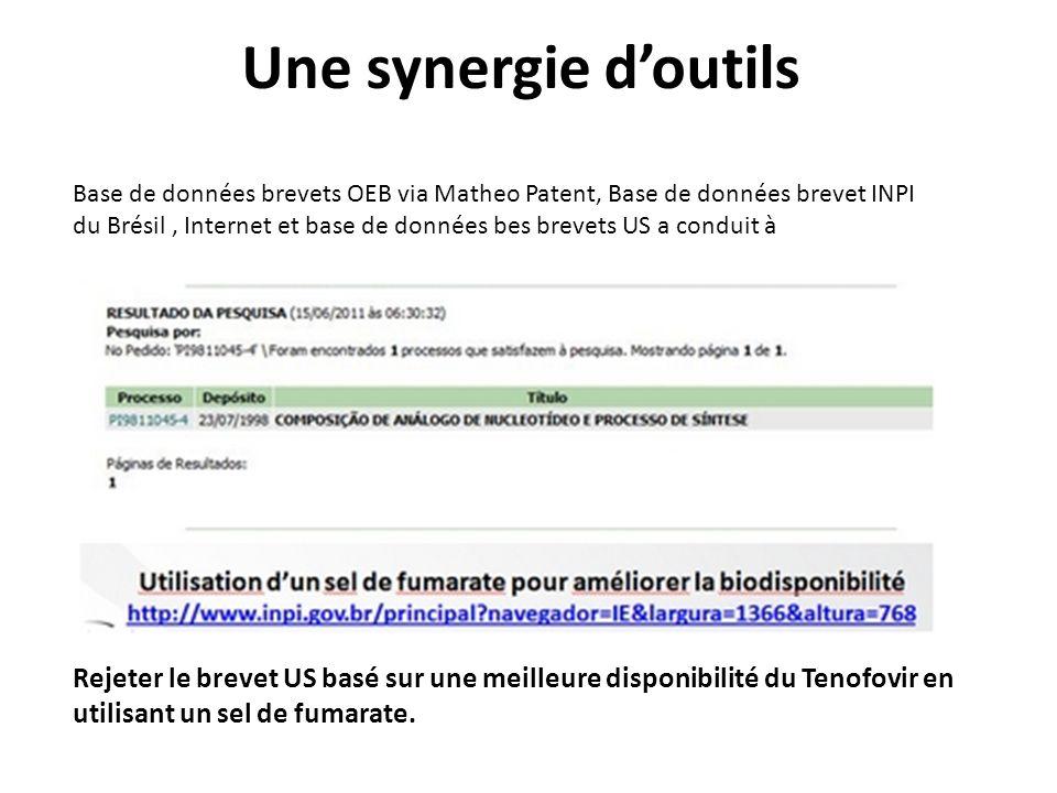 Une synergie doutils Base de données brevets OEB via Matheo Patent, Base de données brevet INPI du Brésil, Internet et base de données bes brevets US