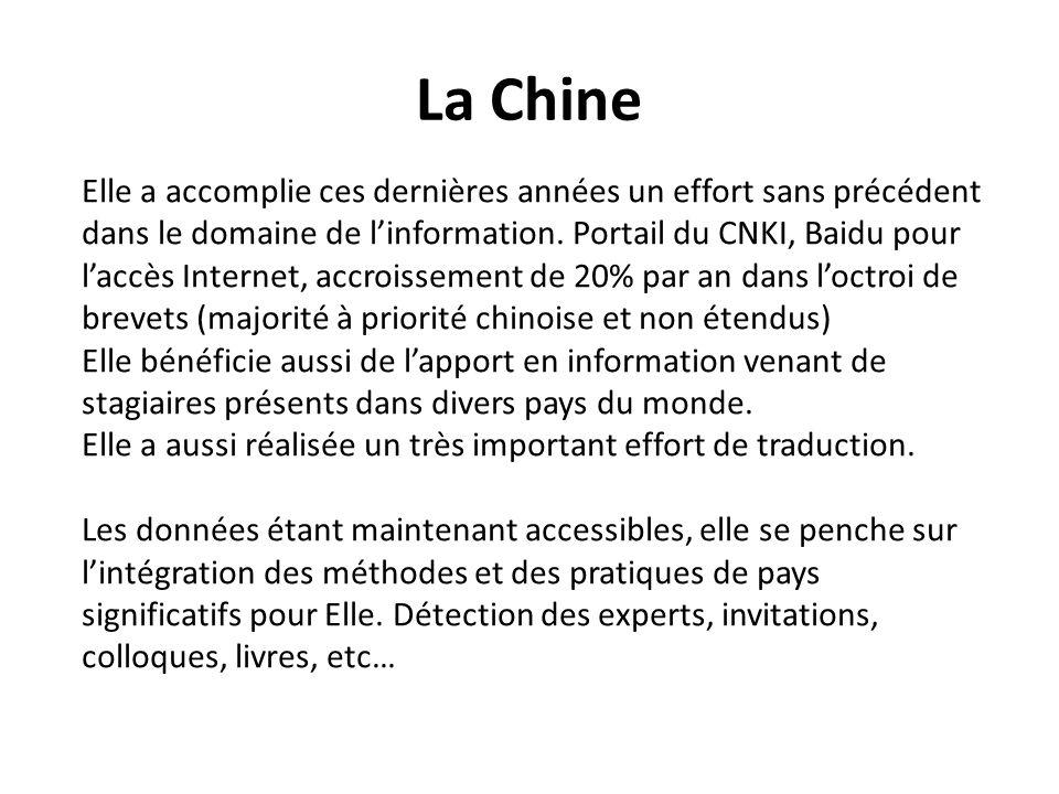La Chine Elle a accomplie ces dernières années un effort sans précédent dans le domaine de linformation. Portail du CNKI, Baidu pour laccès Internet,