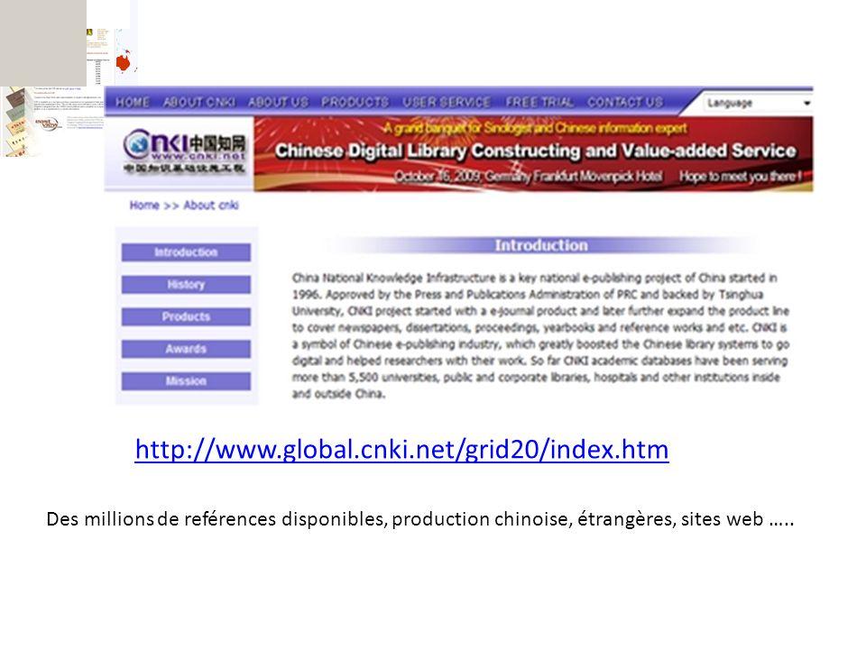http://www.global.cnki.net/grid20/index.htm Des millions de reférences disponibles, production chinoise, étrangères, sites web …..