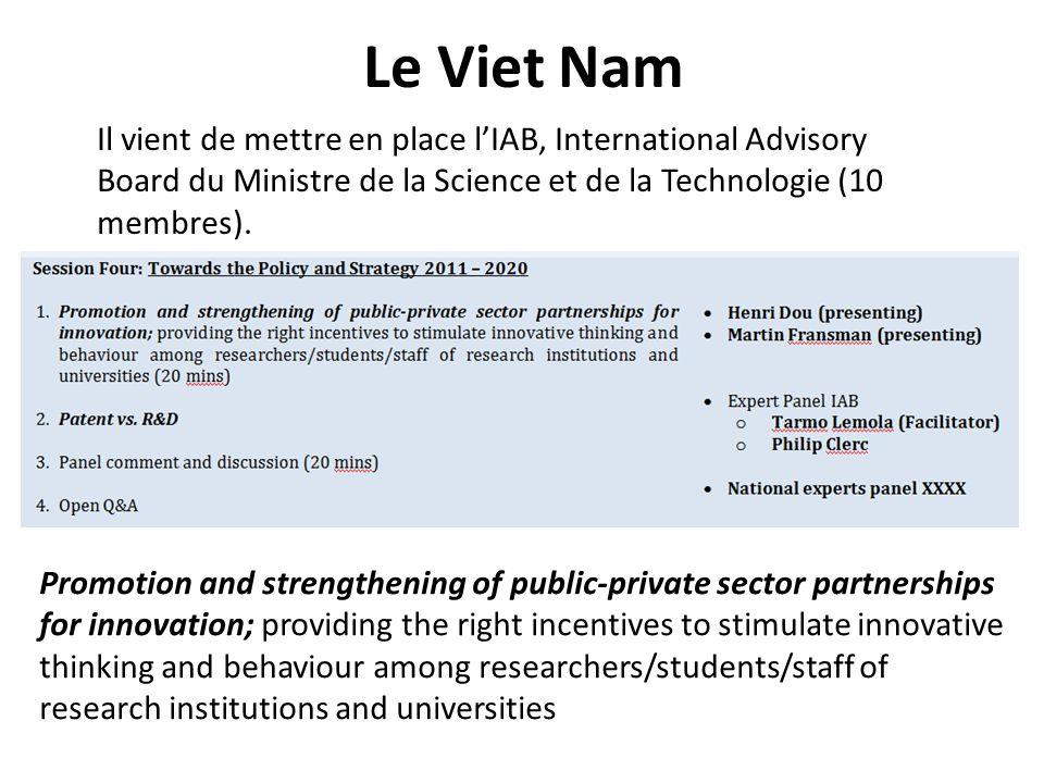 Le Viet Nam Il vient de mettre en place lIAB, International Advisory Board du Ministre de la Science et de la Technologie (10 membres). Promotion and