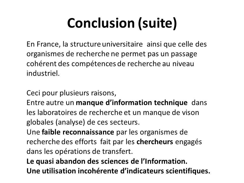 Conclusion (suite) En France, la structure universitaire ainsi que celle des organismes de recherche ne permet pas un passage cohérent des compétences