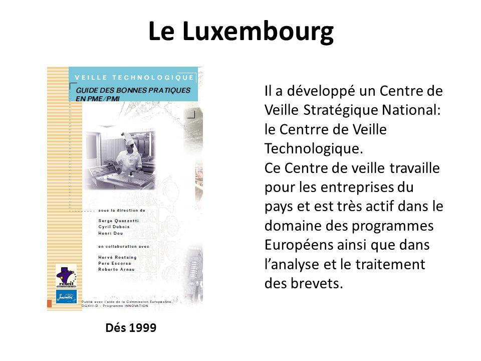 Le Luxembourg Il a développé un Centre de Veille Stratégique National: le Centrre de Veille Technologique. Ce Centre de veille travaille pour les entr