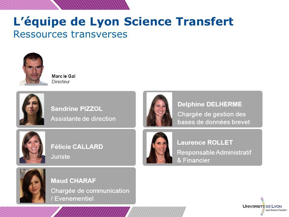 Léquipe de Lyon Science Transfert Ressources transverses Marc le Gal Directeur Sandrine PIZZOL Assistante de direction Félicie CALLARD Juriste Maud CH