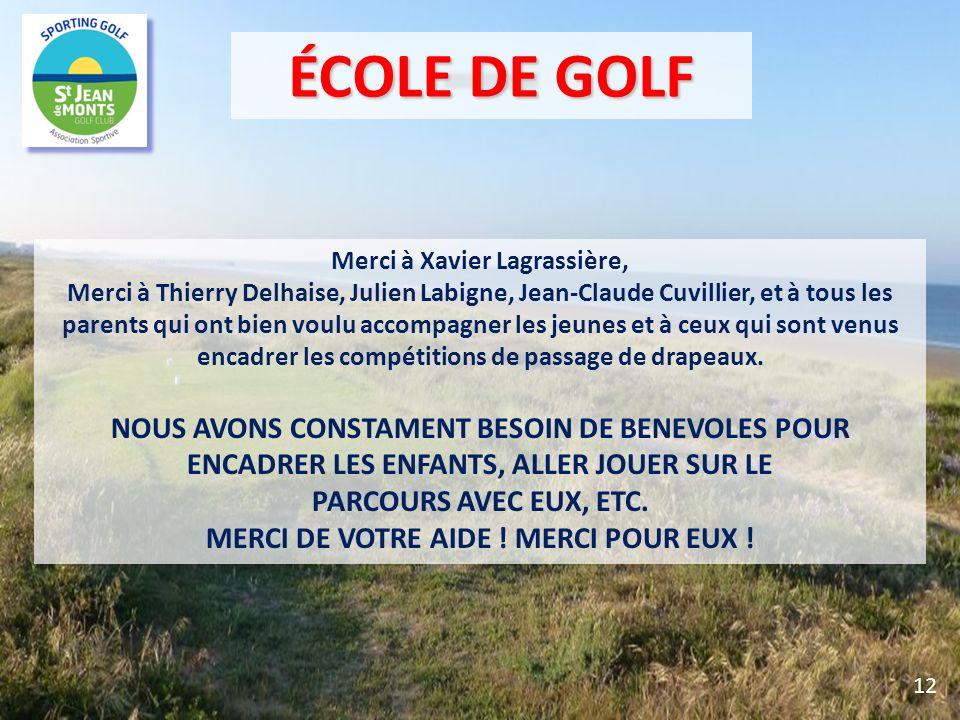 Merci à Xavier Lagrassière, Merci à Thierry Delhaise, Julien Labigne, Jean-Claude Cuvillier, et à tous les parents qui ont bien voulu accompagner les